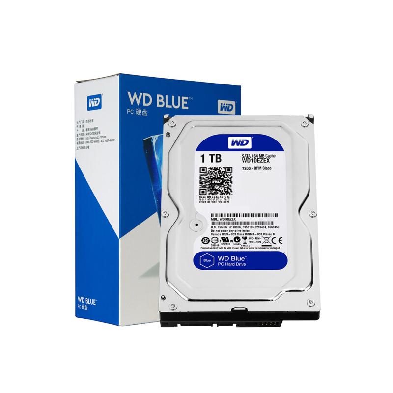西部数据(WD)蓝盘 1TB SATA6Gb/s 7200转64MB 台式机械硬盘(WD10EZEX) 昆明电脑批发推荐