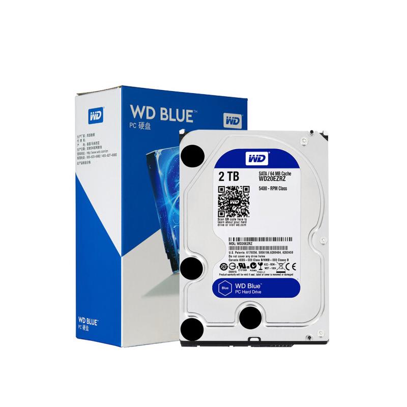 云南电脑商城 西部数据(WD)蓝盘 2TB SATA6Gb/s 64MB 台式机械硬盘(WD20EZRZ)