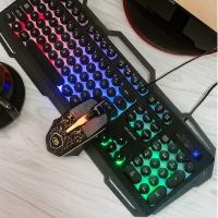 贵彩GCLEXUS Q360金属朋克键鼠套装游戏键盘鼠标有线金属悬浮背光