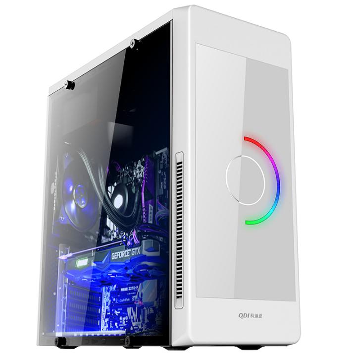 科迪亚 彩虹MINI ATX台式机箱电脑 游戏机箱侧透水冷机箱 月光白