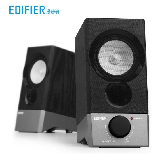 漫步者(EDIFIER) R19U电脑音箱桌面音响USB接口 2.0声道台式迷你小音箱 黑色