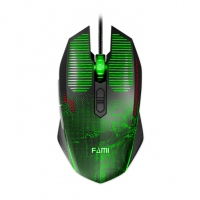法米(FAMI)战歌游戏鼠标电竞有线USB吃鸡台式网咖电脑外设 黑色 云南电脑批发